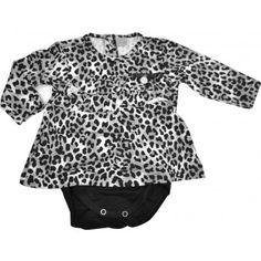Body Vestido Bebê com babados em viscose oncinha cinza Baby Classic. Moda bebê, Moda Infantil, Roupas de Bebê, roupas Infantis, Fashion Baby, Fashion Kids, bebê roupas, roupas de bebê. www.boobebe.com.br