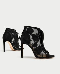 ZARA - WOMAN - LACE-UP EMBROIDERED HIGH HEEL SHOES