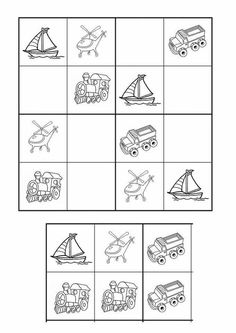 Sudoku Preschool Pictures, Preschool Activities, Montessori Books, Social Studies Worksheets, Sudoku Puzzles, English Worksheets For Kids, Transportation Theme, Learn Chinese, Thinking Skills