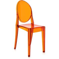 Kartell Victoria Ghost Chair - Orange (1.615 HRK) via Polyvore featuring home, furniture, chairs, accent chairs, orange, transparent chair, ghost chair, kartell furniture, kartell chairs and geometric chair