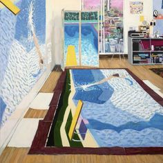 """""""Hockney's Studio While Painting Paper Pools,"""" 2016, acrylic on canvas, 66"""" x 66"""" (168 x 168 cm)"""