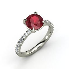 Round Ruby 14K White Gold Ring with Diamond | Candace Ring | Gemvara