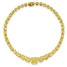 Magnificent Fancy Vivid Yellow Diamond Necklace Set with cut-cornered rectangular modified brilliant-cut and cut-cornered square modified brilliant-cut diamonds of fancy vivid color weighing a total of carats, mounted in 18 karat gold, length inches. Diamond Necklace Set, Diamond Jewelry, High Jewelry, Jewelry Necklaces, Punk Jewelry, Jewellery, Bohemian Jewelry, Jewelry Box, Yellow Jewelry