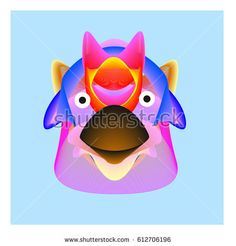 Colorful and Various Animal Face Illustration Icon for wallpaper Background. Dynamic flux Effect design. Abstract  Vector Cartoon Monster Character Icon Head Design. Modern and Techno Style Pattern.