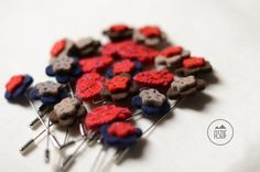 Wool felt lapel pin in beige and red by ASDFstyle on Etsy