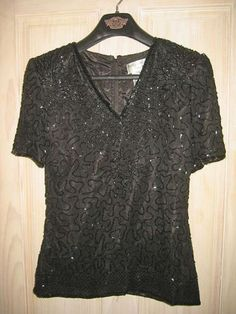 Beaded Swing Blouse Tee Shirt Silk NOS Vintage Flowy Structured Shoulder Beaded Jacket, Sequin Jacket, Couture Outfits, Tee Shirts, Tees, Black Tops, Silk, Jackets, Shoulder