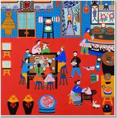 Chinese folk art, Jinshan Peasant Painting, festivals gallery, Chinese New Year, customs Farmer Painting, Chinese New Year Eve, Chinese Festival, Chinese Cartoon, China Art, Naive Art, Pretty Art, Chinese Painting, Folk Art