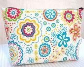 Zipper Pouch Cosmetic Bag Small - Blue, Red, Yellow Floral. DIY here: https://docs.google.com/document/d/1g9tm5xJJFQlSY2JIoVKnPO1TWhOXhA4D8qru17dgZzo/edit