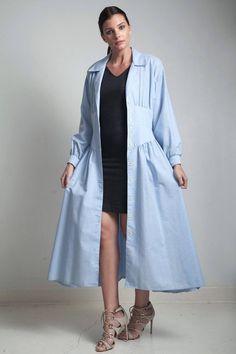 vintage light blue cotton dress midi collared dolman sleeve cummerbund MEDIUM M Street Hijab Fashion, Abaya Fashion, Batik Fashion, Fashion Dresses, Iranian Women Fashion, Couture Dresses, Cotton Dresses, Vintage Dresses, Light Blue