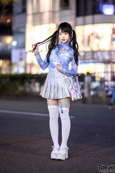 Harajuku Idol in Twintails, Romantic Standard Top, Spinns Pleated Skirt & WEGO Platforms