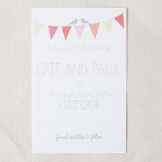 Bunting Free Printable Save the Date Cards - Use this link to edit the names, date, and location of your wedding and get a free download of your personalized save the date for FREE.