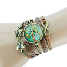 Leather wrap cuff bracelet with charms, cabochon, butterfly, infinity charms UK…