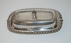 Vintage F.B. ROGERS Silver Co. Silver Plate BUTTER DISH #1896 Cover Glass Insert #RogersCo