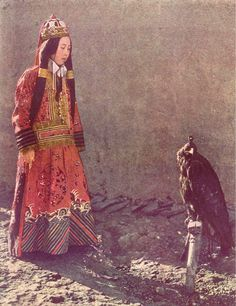 Princess Nirgidma with her hooded hunting eagle at Urumchi. A striking photograph of the Torghut princess by Maynard Owen Williams in 'The National Geographic Magazine', of November 1932, Vol. LXII No.5, plate IX opposite p.568, shows her in national costume.