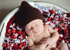 Hershey Kisses Inspired Beanie Newborn by cuteittybitty on Etsy, $12.00 (I LOVE THE BABY SURROUNDED BY KISSES!)