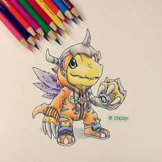 """#Agumon wearing a #MetalGreymon onesie ✌. Who else is excited for the 15th anniversary project? I grew up on the first several seasons. I feel so old..…"""
