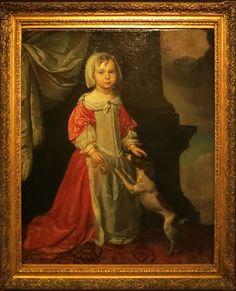 Portrait d'une petite fille avec son chien, J de Jager