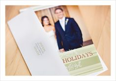 Free printable photo holiday card: Green Stripes Holiday Card