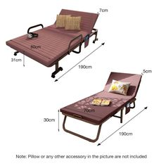 Luxury Single Folding Guest Beds with Adjustable Backrest Fold Lounge Chair with Metal Frame and Soft Mattress: Amazon.co.uk: Kitchen & Home