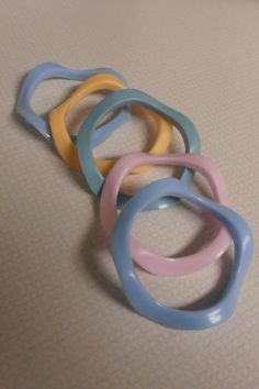 Set of 5 1980s Wavy Bracelets Assorted Pastel Colors by MADMrs, $12.00
