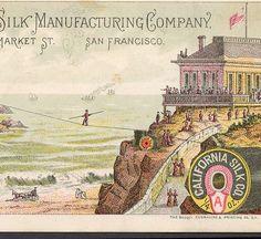 1800s California Silk Sewing Thread Cliff House High Wire Circus Trade Card RARE