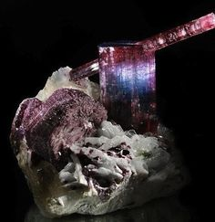 Bi Color Rubellite crystals with Lepidolite on Albite Matrix   #Geology #GeologyPage #Mineral  Locality: Pederneira Mine Brazil Size: 6 x 7 x 6 inches  Photo Copyright  Astro Gallery  Geology Page www.geologypage.com