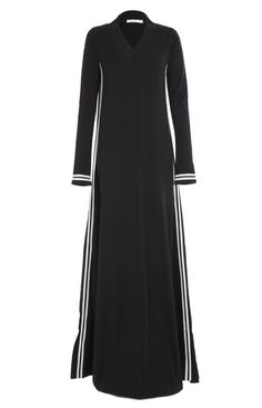 Hijab Fashion 2016/2017: When youre on the go slip into Toshi Abaya causal easy going & comfortable a casual yet chic sporty style Abaya made from 100% Cotton Jersey ribbed V neck and cuffs for added comfort. #toshiabaya #aabcollection #balckandwhite #modestwear www.aabcollection