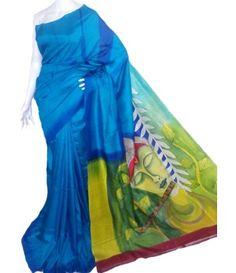 Blue Hand Painted Sonamukhi Silk Saree
