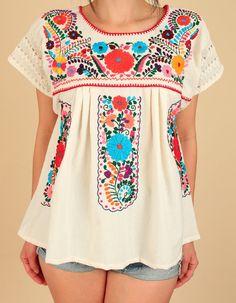 ViNtAgE años 70 mexicano bordado túnica ganchillo superior