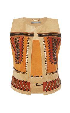 Suede Vest With Metallic Embroidery by ALBERTA FERRETTI for Preorder on Moda Operandi