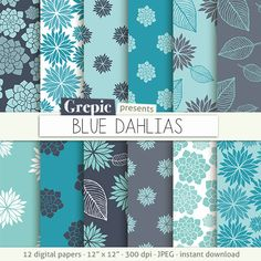 """2nd from top left - Pretty! Blue flower digital paper: """"BLUE DAHLIAS"""" clip art dark blue floral patterns nature, dahlia's paper leaves with dahlia flowers backgrounds"""