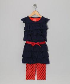Take a look at this Eddie & Stine by Eddie Bauer Sailor Blue & Orange Tiered Tunic & Leggings - Toddler & Girls on zulily today!