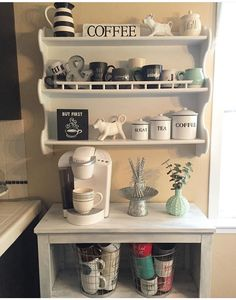 Coffee Bar Decor, Modern Coffee Bar, Rustic Bar Ideas Corner Coffee Bar Ideas , Home Styled Coffee Bar Ideas, Coffee Bar Ideas End of Kitchen Bar Table Design, Coffee Bar Design, Coffee Bar Station, Home Coffee Stations, Tea Station, Beverage Stations, Beverage Center, Coffee Nook, Coffee Corner