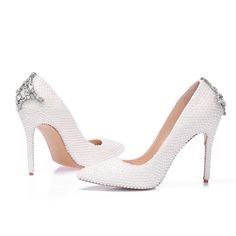 Custom White Pearls Genuine Leather Women Party Pumps High Heels Sexy Women Party Shoes 11cm Pointed Toe MA0386
