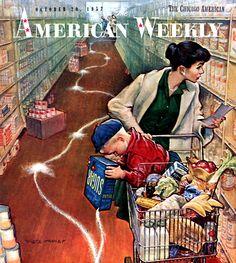 Sugar Trail: illustration by Pete Hawley. Vintage Advertisements, Vintage Ads, Vintage Prints, Retro Advertising, Old Magazines, Vintage Magazines, Vintage Pictures, Vintage Images, Posters Vintage