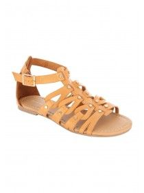 Womens Tan Open Toe Gladiator Sandals