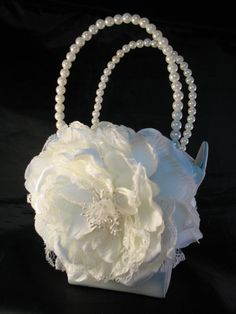 IVORY Satin Flower Girl Basket with Ivory by CustomRingChests, $25.00