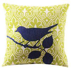 Brid & Leaves Cotton/Linen Decorative Pillow - USD $ 14.99