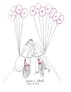 Red+Bicycles+with+Balloons+Wedding+Art+Print+Personalized+by+Zoia,+$20.00