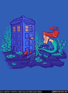 Part of Every World is available this week only as a T-Shirt, Hoodie, Phone Case, and more! Available until 7/27 at OnceUponaTee.net starting at $12! #DoctorWho #LittleMermaid #Whovian