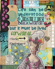 Art Journal Page by Julie Ann Shahin; Supplies by Tangie Baxter at Scrapbookgraphics; Inspired by Susan Buckner Borders: Art Journal Caravan {Expedition 2011},Art Journal Caravan 2011 Provision Parcel 1, Art Journal Caravan Provisions {Parcel 40}, Hand Cut Collage Fodder: Edges Paper: Art Journal Caravan Provisions {Parcel 46}, Art Journal Caravan Provisions {Parcel 47} Tag: Art Journal Caravan {Expedition 2011} Stamp: Journal Anthology Arrow and talk bubble: Keep Moving Forward He...