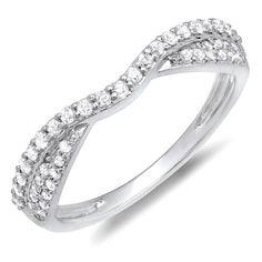 0.36 Carat (ctw) 14k White Gold Round Diamond Ladies Bridal Anniversary Wedding Stackable Band 1/3 CT (Size 6) DazzlingRock Collection http://www.amazon.com/dp/B00BYJZP0G/ref=cm_sw_r_pi_dp_HfDUub122PY7X