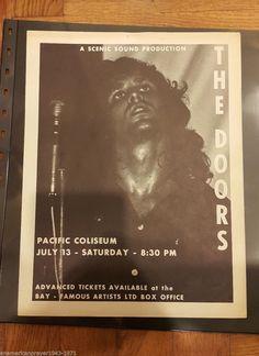 Rare Doors Original 1968 Handbill Pacific Coliseum JIM Morrison Fillmore ERA   eBay