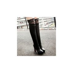 Lace Trim Block Heel Over The Knee Boots ($85) ❤ liked on Polyvore featuring shoes, boots, footware, platform boots, thigh-high boots, black thigh-high boots, high heel boots and black boots