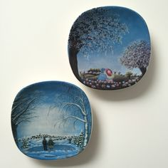 Set of 2 Arabia of finland small wall hanging designed by Anita Rantanen- Siemens from This collection is called Spring & winter Atmosphere. Available in my shop at Etsy now. Tea Set, Finland, 1980s, I Shop, Two By Two, Ceramics, This Or That Questions, Spring, Winter