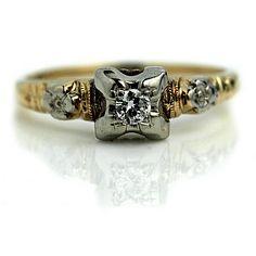 Art Deco Solitaire Engagement Ring Art Deco by ArtDecoDiamonds #vogueteam #vintage #jewelry