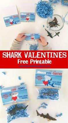 free printable shark valentines