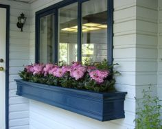 Windows, Awesome Traditional Porch With Blue Box Window Also Beautiful Flowers Also Classic Outdoor Wall Light Also White Wall Color: Admira...
