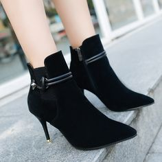 Autumn-thin-with-the-boots-female-pointed-British-matte-velvet-surface
