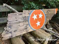 4 FOOT! Tennessee State Tri Star. Solid wood, quality made, hand painted and shipped from Knoxville Tn. Get yours today from The Vintage Hammer.